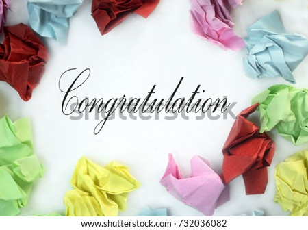 art from paper color wasted with word congratulation on white background #732036082