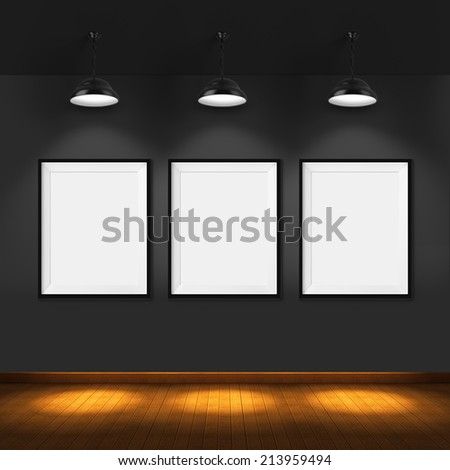 Art Gallery Blank Picture Frames On Brick Wall Background