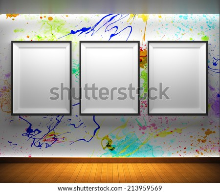 Shutterstock art gallery blank picture frames on brick wall background