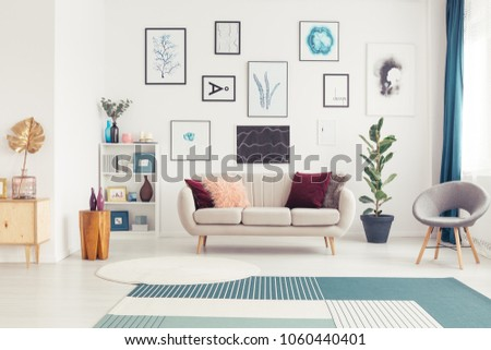 Art gallery in a living room interior with white sofa, plant and grey armchair #1060440401