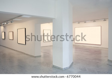 art gallery with blannk frames