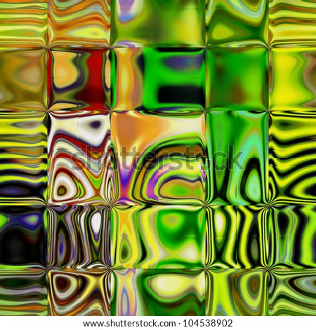 art glass textured colorful blurred tiled background in bright gold and green colors