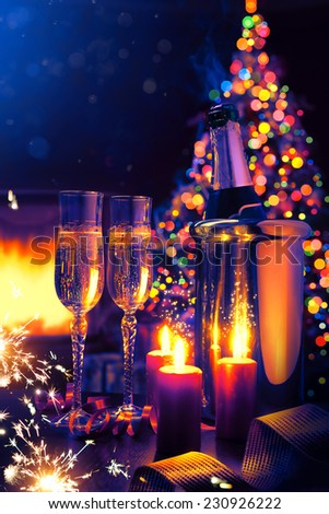 art Glasses of champagne at New Year\'s Eve