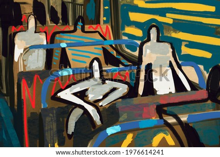 art graffiti concept with Human figure take de bus all together. Human figure painting on photography with abstract graffiti and color line. little anxious, scary and societal sarcastic . Foto d'archivio ©