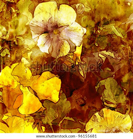 art grunge autumn floral vintage watercolor monochrome golden brown background with white and yellow violets