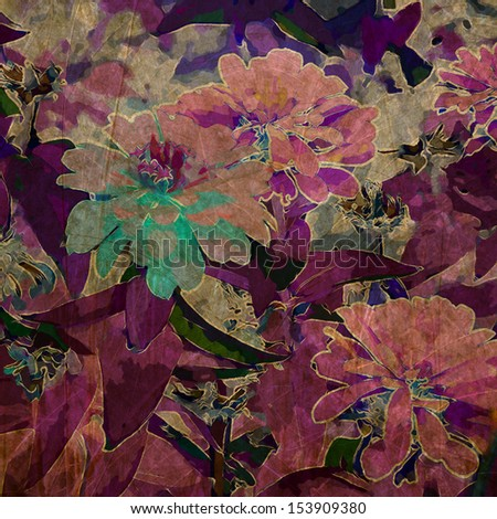 art grunge floral vintage background in purple violet and pink colors