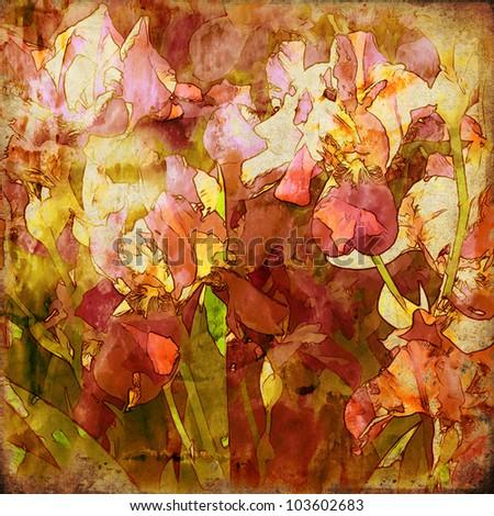 art grunge floral vintage background texture