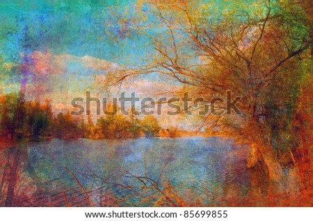 Art grunge landscape showing lake and the tree on the beautiful autumn day.