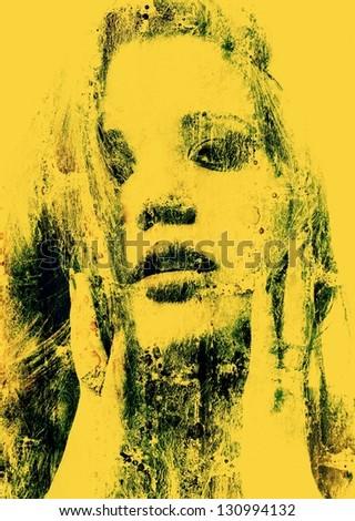 Art grunge portrait of the beautiful girl