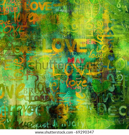 art grunge spring vintage textured background in bright green, orange and gold yellow colors