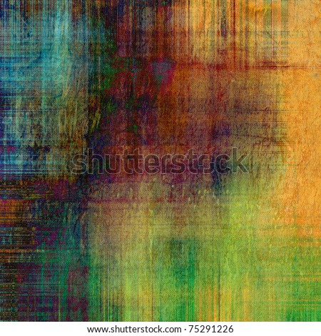 art grunge vintage fabric textured and varicolored background with gold orange, red, purple, brown, green and blue blots