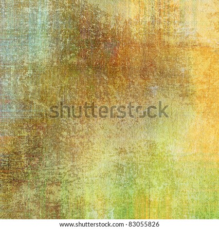 art grunge vintage fabric textured background in old gold, orange brown, green and beige color with blots - stock photo