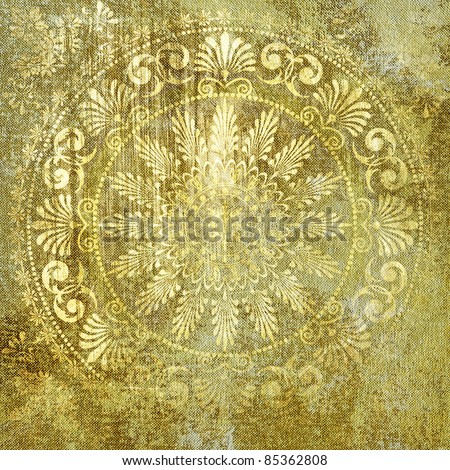 art grunge vintage golden textured background in damask and classical style
