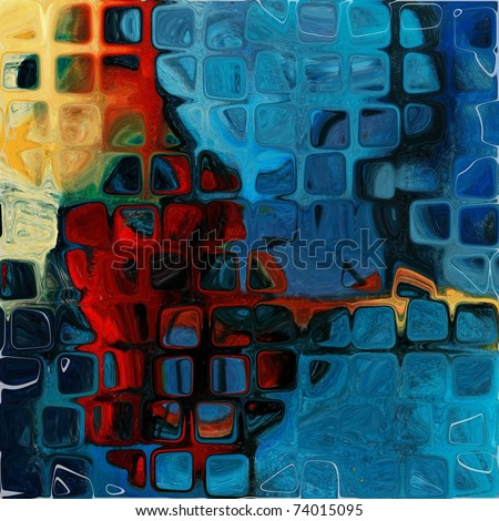 art grunge vintage textured background in blue and red colors, geometric pattern