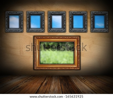 art indoor backdrop with vintage painting frames ( photos in the frames are also mine )