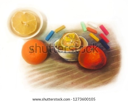 art items. soft pastels painting and still life. art and reality. fruits lemon, orange tangerine. colorful pastel drawing. artist's workplace. For art-school, sketchbook cover or art goods packaging #1273600105