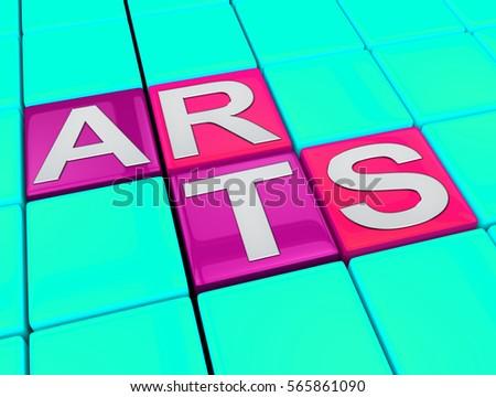 Art Kids Blocks Representing Painting Craft 3d Illustration