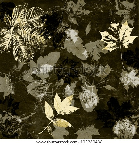 art leaves autumn background card in black and white colors