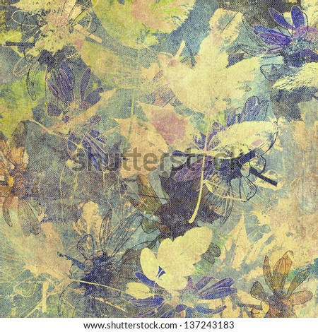 art leaves autumn background, card in pastel green, blue and yellow colors