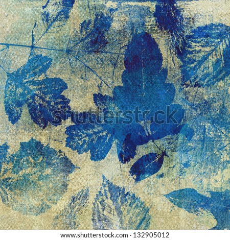 art leaves autumn background in blue