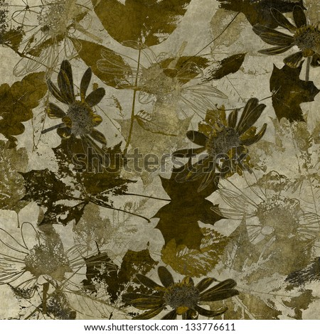 art leaves autumn background in brown and sepia colors