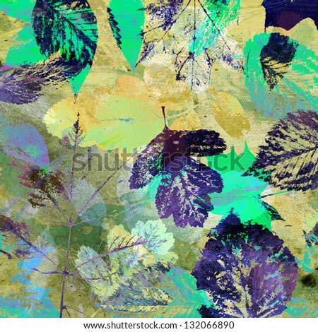 art leaves autumn background with blue, green and yellow colors