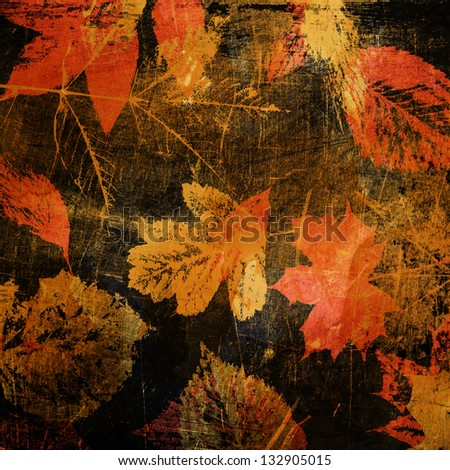 art leaves autumn background with red, brown and golden colors