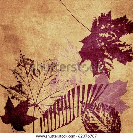 art leaves grunge background pattern
