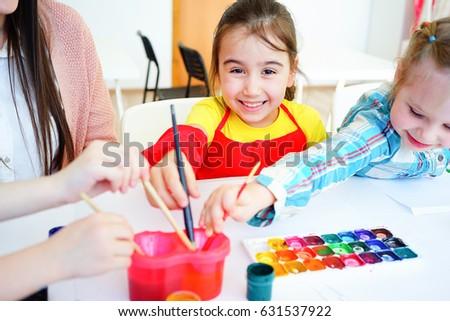 Art lesson in elementary school