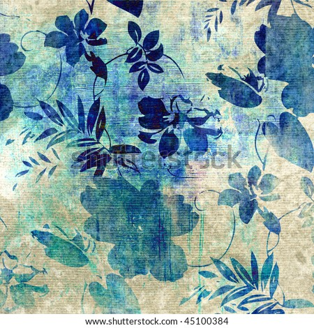 art monochrome stylized floral blue pattern, grunge paper textured background