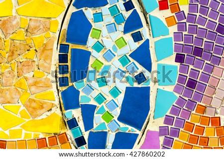 Art mosaic glass on the wall. #427860202