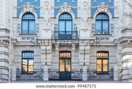 Art Nouveau architecture in Riga, Latvia #99487175