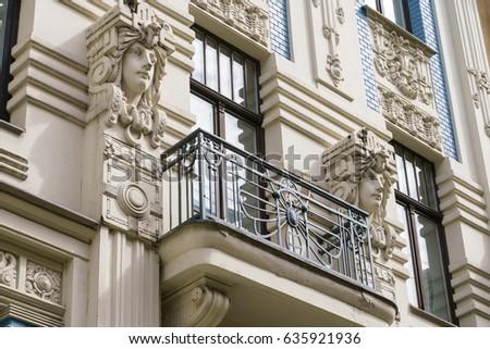 Art Nouveau building fragment in Riga, Latvian
