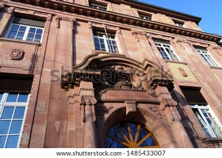 Art Nouveau Building in sandstone, constructed around 1900 as savings bank, today council offices of the City of Worms (Germany).  #1485433007
