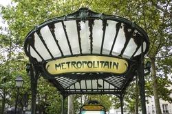 Art Nouveau entrance to Paris Metro subway