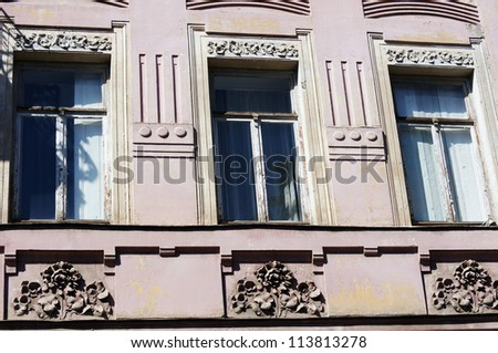 Art-Nouveau facade in Tbilisi Old town, restored area