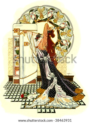 Art nouveau illustration of a woman stressed and heading for the refrigerator for comfort food.