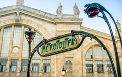 Art Nouveau influenced sign for the metro in Paris which is the subway system servicing Paris.