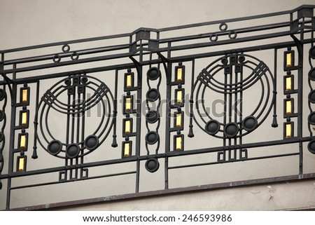 Art Nouveau ironwork balcony in Prague, Czech Republic. #246593986