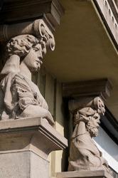 Art nouveau style decoration statues in Timisoara.