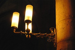 art nouveau wall lamp in France cathedral