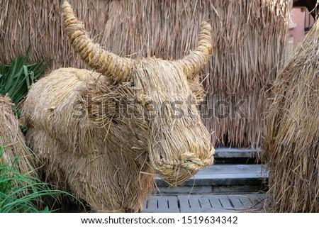 Art of dry straw.Buffalo.Straw, dry straw, straw background.  #1519634342