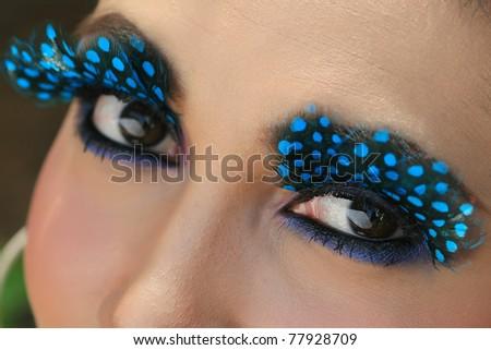 art of eye with blue mascara