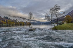 Art of nature . Photo from the Lunde river , in Stryn in Norway .