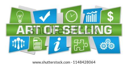 Art of selling text written over blue green background.