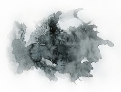 Art of Watercolor. Black spot on watercolor paper. Abstract gray spot on white background. Ink drop. Gray color. Abstract background and illustration texture for design and formalization.