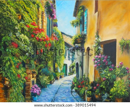 Art Oil-Painting Picture Flower Street in Italy