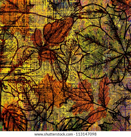 art old golden leaves autumn background card with orange, green and black blots and graphic