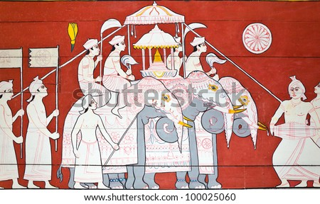 art painting at the entrance to the temple of the sacred tooth of Buddha in Kandy, Sri Lanka