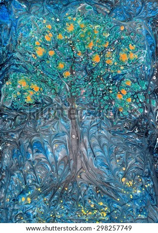 Art painting on water, abstract background. Tree from the garden